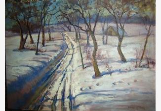 Зима. Дорога в зимнем саду