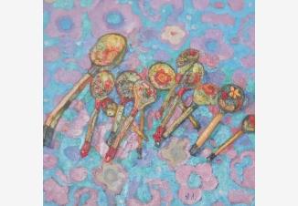 Натюрморт с ложками на голубом