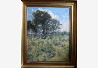 Лесной пейзаж с фигурой мальчика