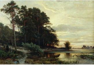 Вечерний пейзаж с озером на опушке леса