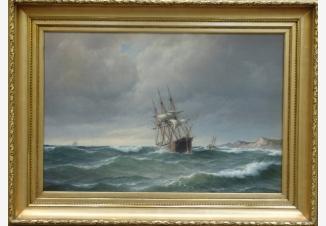 Трехмачтовый корабль у побережья в штормовую погоду
