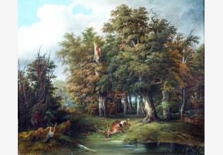 Лесной пейзаж со сценой охоты