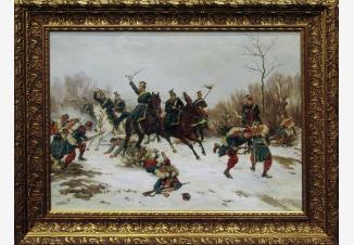 Бой между прусскими уланами и французскими солдатами-пехотинцами