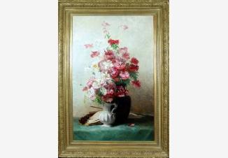 Букет цветов, скрипка и ноты