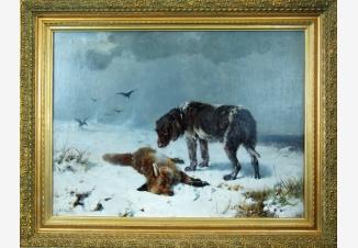 Зимний пейзаж с охотничей собакой и лисой