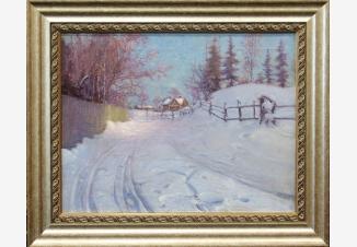 Зима.Дорога на краю деревни