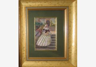 Молодая дама с веером на ступеньках лестницы