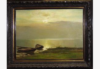 Лодка у берега. Тихий вечер.