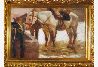 Кавалерист с лошадьми у колодца