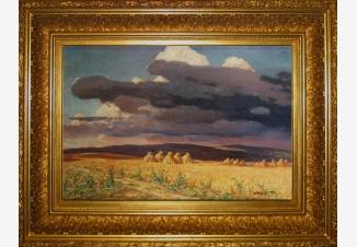 Пейзаж со снопами и грозным небом