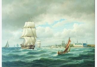 Морской пейзаж. Корабли на рейде Кронборга