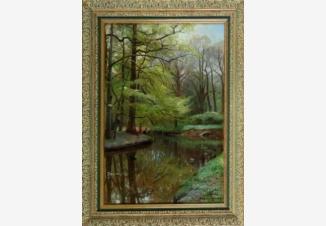 Лесной пейзаж с рекой