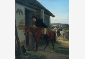 Всадник у крестьянского дома