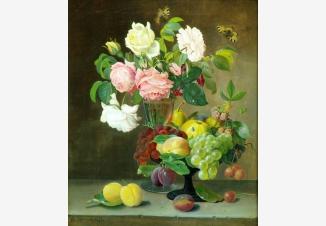Розы, фрукты и бабочки