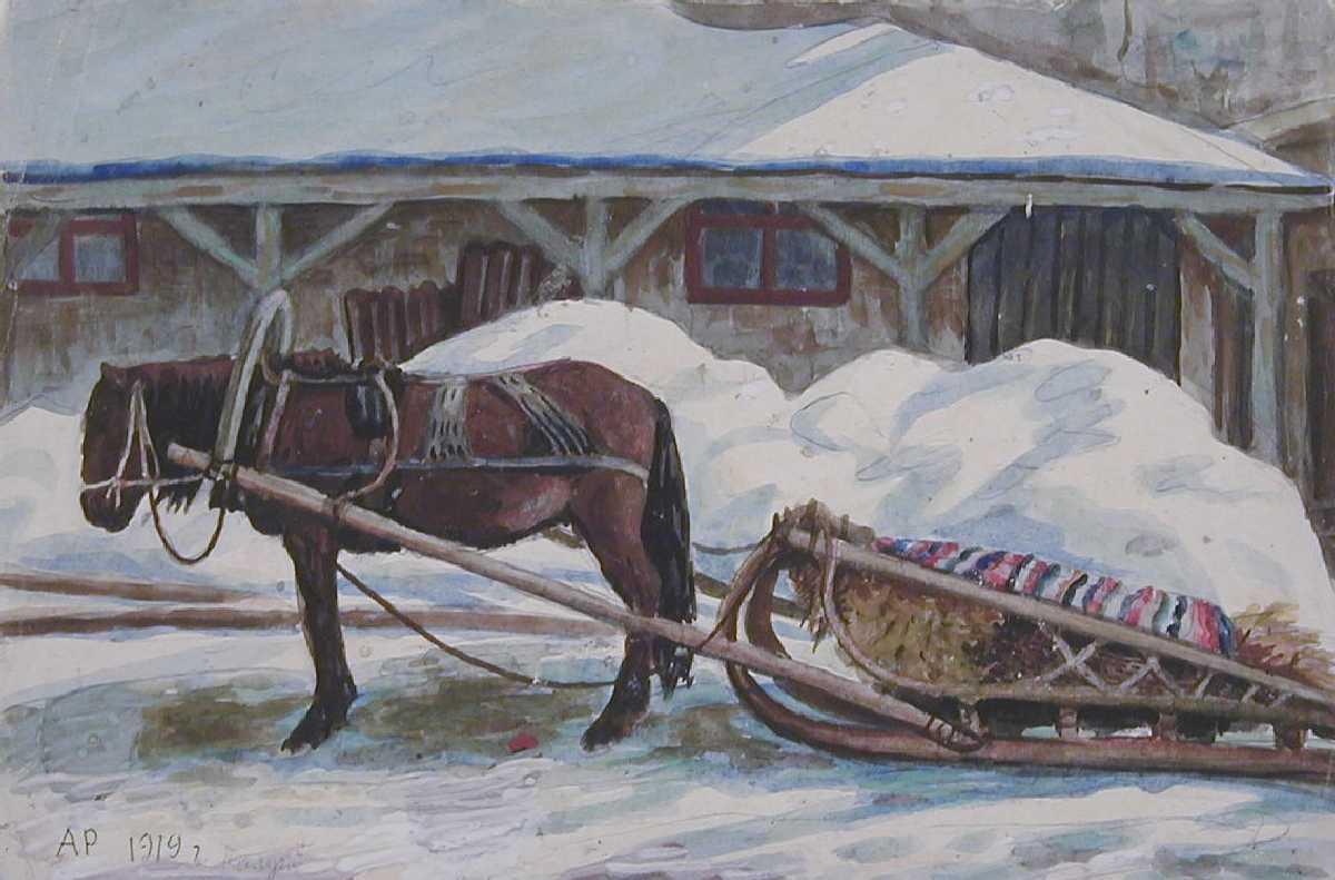Зимние картинки с санями и лошадками