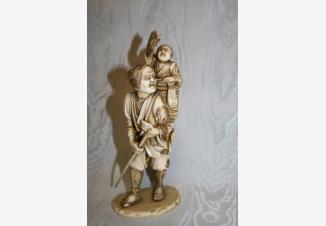Окимоно Cтарик с мальчиком и корзиной