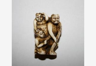 Нэцкэ Три демона Они с мешком