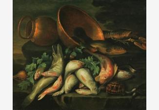 Натюрморт с черепахой и угрями