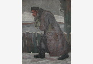 Зима. Идущий мужчина