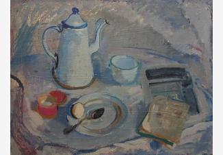 Белый кофейник