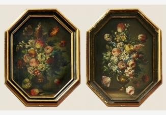 Пара натюрмортов «Цветы в вазе»