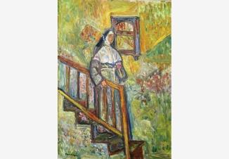 Медсестра, спускающаяся по лестнице