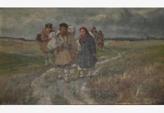 Среднерусский пейзаж. Крестьяне идущие вдоль дороги