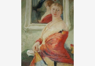 Девушка в красной шали у зеркала