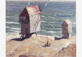 Мельницы на берегу моря