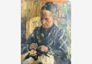 Пожилая женщина за вязанием