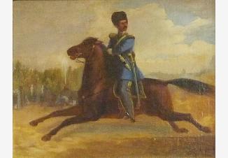 Скачущий русский офицер атаманского полка