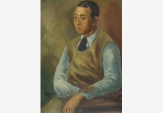Портрет молодого человека в голубой рубашке
