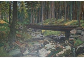 Лесной пейзаж с мостом