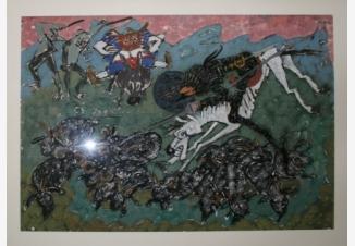 Санчо Панса и Дон Кихот нападает на овец