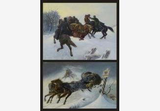 Парные картины «Задержание контрабандистов на русской границе»