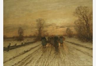 Зимний пейзаж с путниками