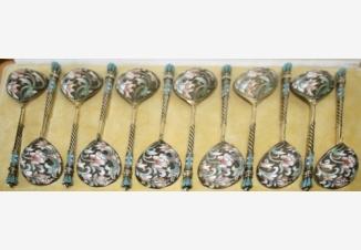 Ложки чайные с эмалью (набор из 12 шт.)