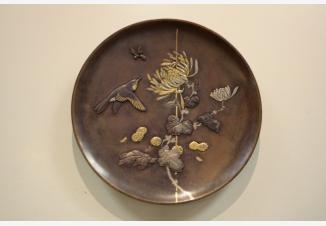 Тарелка настенная «Цветы и птица»