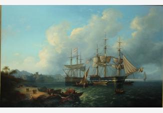 Морской пейзаж с кораблями у причала