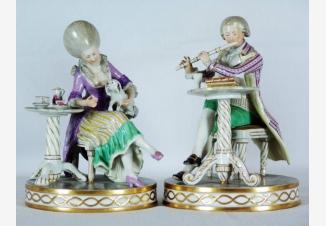Статуэтки парные «Дама и музыкант»