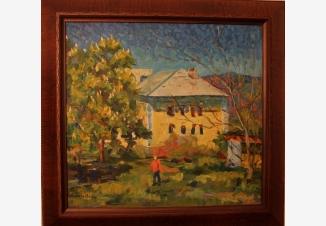 Пейзаж с мальчиком в красной рубашке и домом
