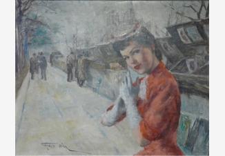 Жанетт у книжных киосков в Париже