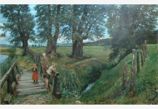 Пейзаж с детьми на мосту