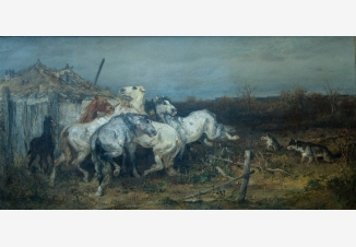 Лошади, напуганные волками