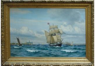 Бригантина и другие корабли у побережья Эресунда,близ замка Кронборг