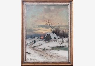 Зимний пейзаж на закате