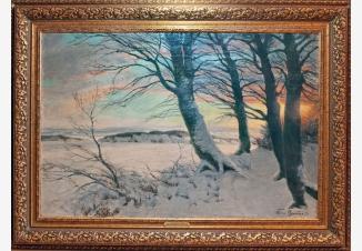 Зимний закат на опушке леса